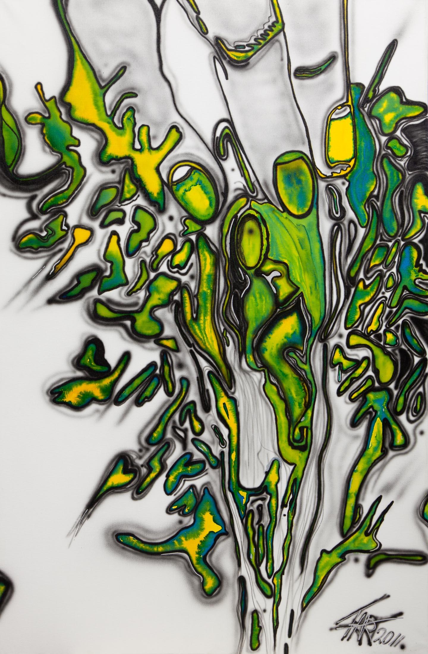 Reproductie van schilderij met veel groen van Ernst Jan ter Hoeven