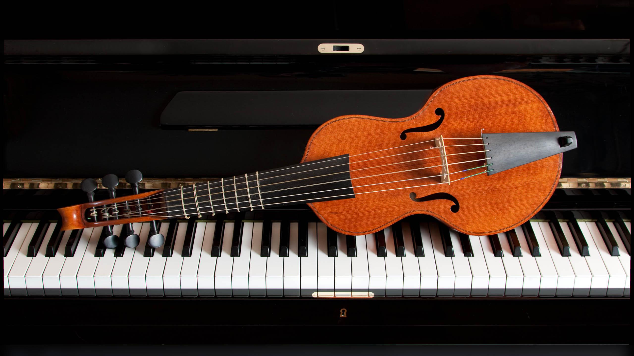 Productfoto van strijkinstrument op piano gefotografeerd door Robert Zwart productfotograaf