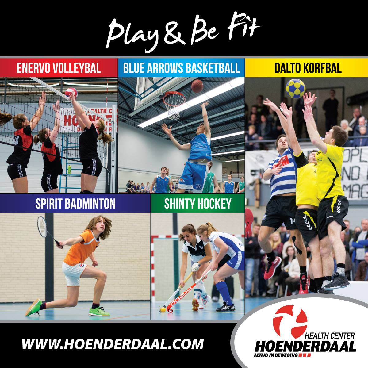Compilation of basketball, volleybal, korfbal, badminton anf hockey on one poster made for an health centre